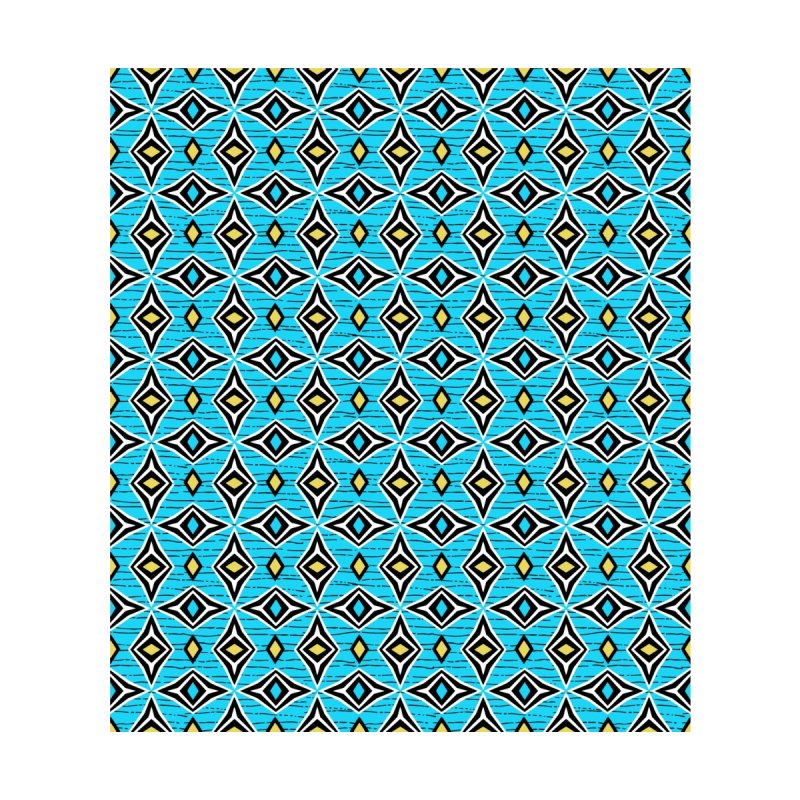 Modern tribal design with blue and yellow diamond shapes by thatsgraphic's Artist Shop