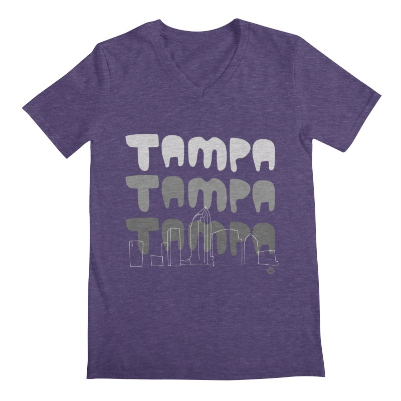 A TAMPA SKYLINE | GRAYSCALE Men's V-Neck by thatssotampa's Artist Shop