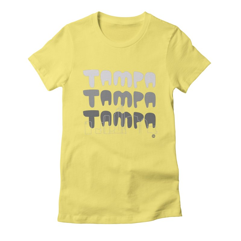 A TAMPA SKYLINE | GRAYSCALE Women's Fitted T-Shirt by thatssotampa's Artist Shop