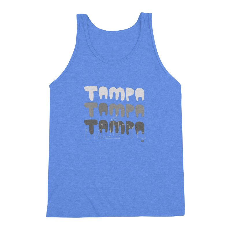 A TAMPA SKYLINE | GRAYSCALE Men's Triblend Tank by thatssotampa's Artist Shop