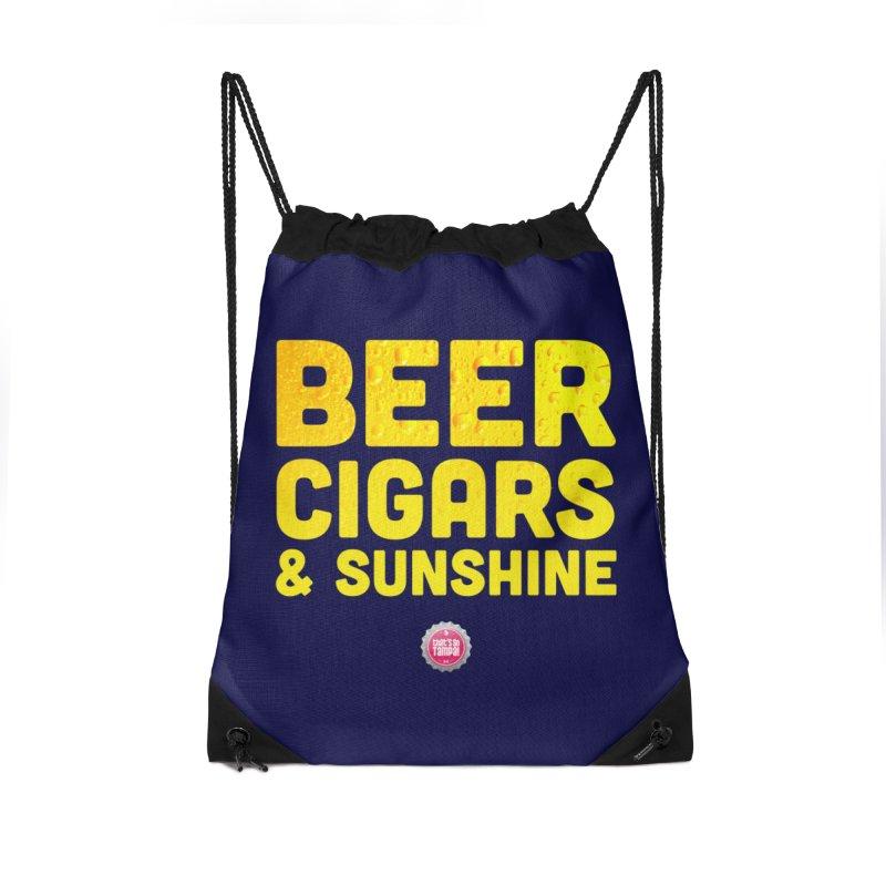 Beer, Cigars & Sunshine Accessories Drawstring Bag Bag by thatssotampa's Artist Shop