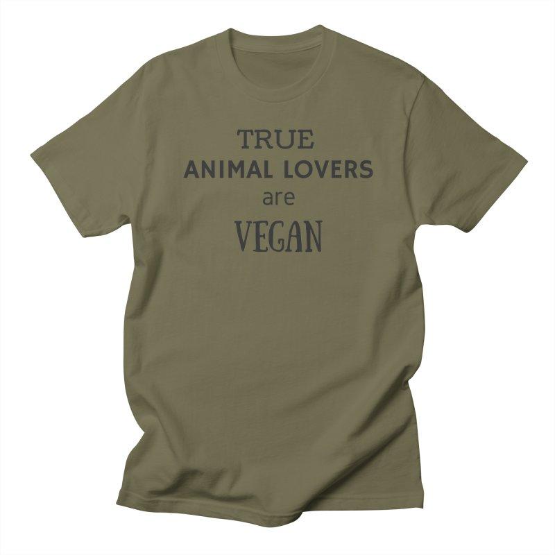 TRUE ANIMAL LOVERS ARE VEGAN [Style 2] (Black Font) Women's T-Shirt by That Vegan Couple's Shop