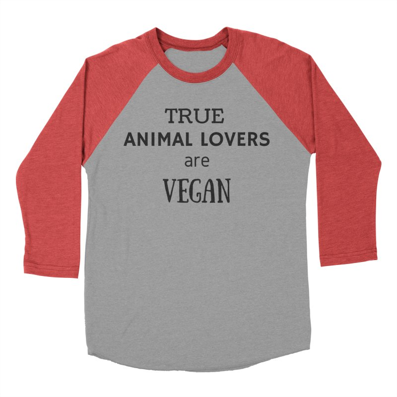 TRUE ANIMAL LOVERS ARE VEGAN [Style 2] (Black Font) Men's Baseball Triblend Longsleeve T-Shirt by That Vegan Couple's Shop
