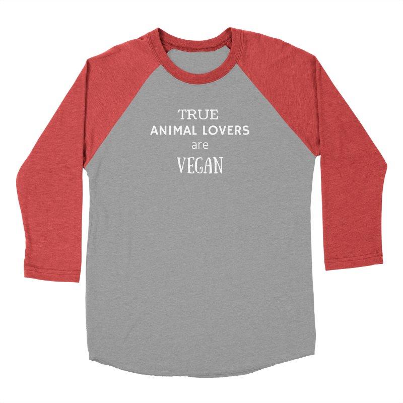 TRUE ANIMAL LOVERS ARE VEGAN [Style 2] (White Font) Men's Baseball Triblend Longsleeve T-Shirt by That Vegan Couple's Shop