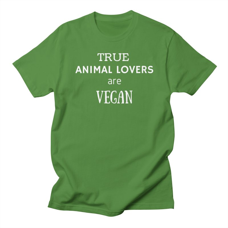 TRUE ANIMAL LOVERS ARE VEGAN [Style 2] (White Font) Women's Regular Unisex T-Shirt by That Vegan Couple's Shop