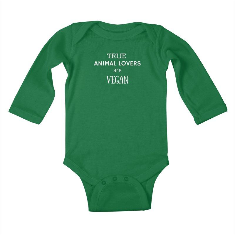 TRUE ANIMAL LOVERS ARE VEGAN [Style 2] (White Font) Kids Baby Longsleeve Bodysuit by That Vegan Couple's Shop