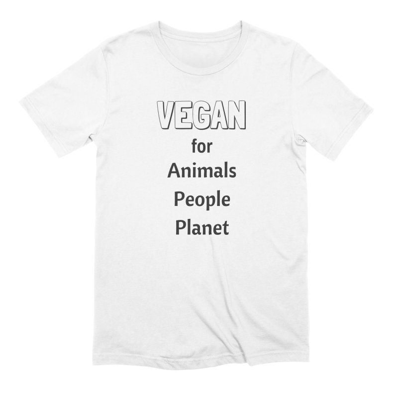 VEGAN for Animals People Planet [Style 3] (Black Font) Men's Extra Soft T-Shirt by That Vegan Couple's Shop