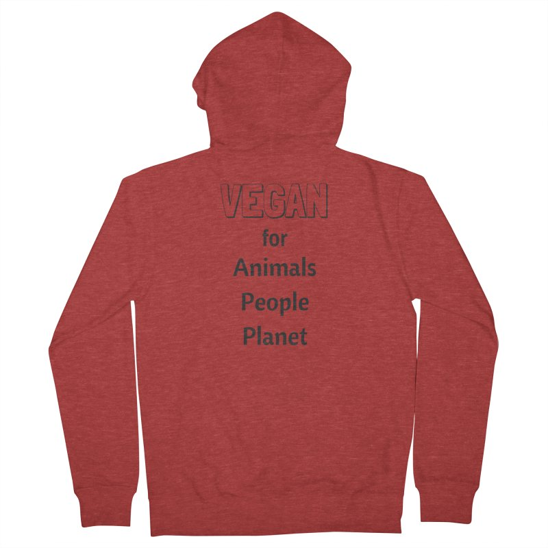 VEGAN for Animals People Planet [Style 3] (Black Font) Men's French Terry Zip-Up Hoody by That Vegan Couple's Shop