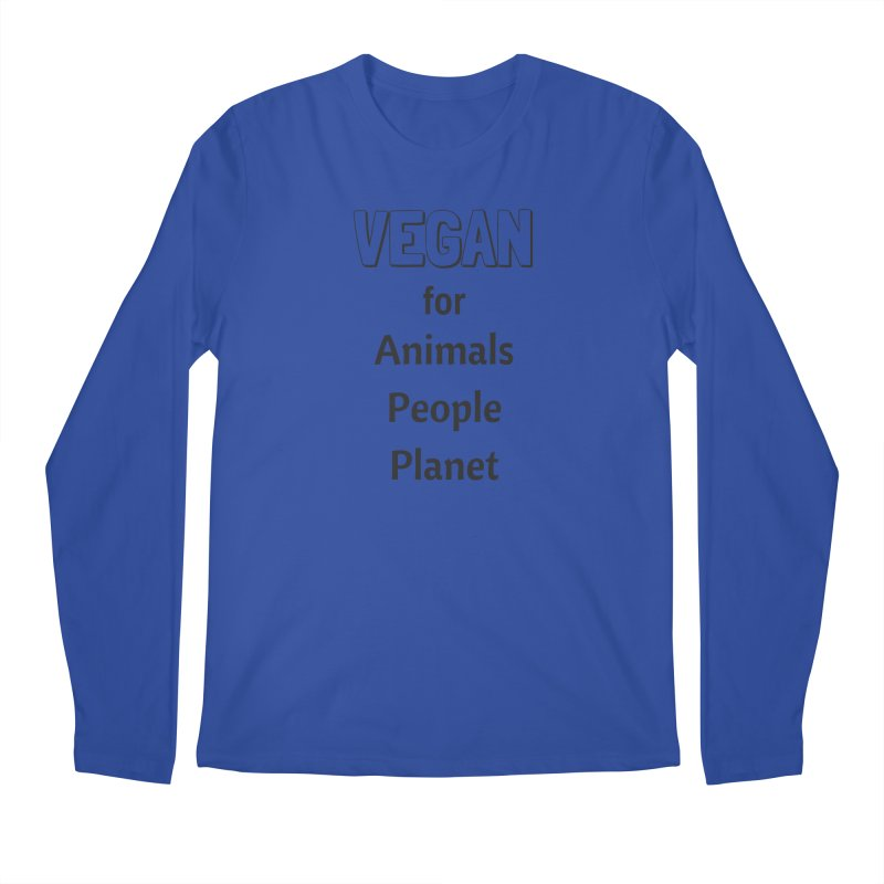 VEGAN for Animals People Planet [Style 3] (Black Font) Men's Regular Longsleeve T-Shirt by That Vegan Couple's Shop