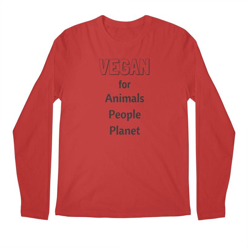 VEGAN for Animals People Planet [Style 3] (Black Font) Men's Regular Longsleeve T-Shirt by That Vegan Couple's Shop