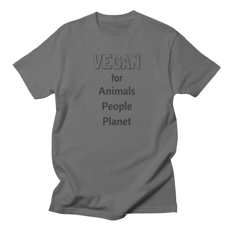 VEGAN for Animals People Planet [Style 3] (Black Font) Men's Regular T-Shirt by That Vegan Couple's Shop