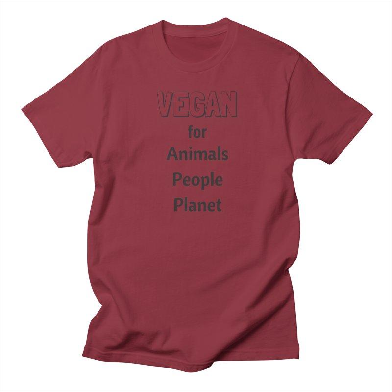 VEGAN for Animals People Planet [Style 3] (Black Font) Men's T-shirt by That Vegan Couple's Shop