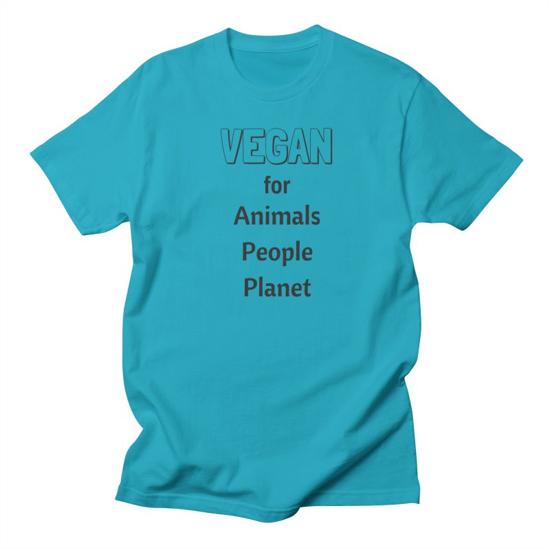 VEGAN for Animals People Planet [Style 3] (Black Font) Men's Regular T-Shirt by That Vegan Couple's Shop
