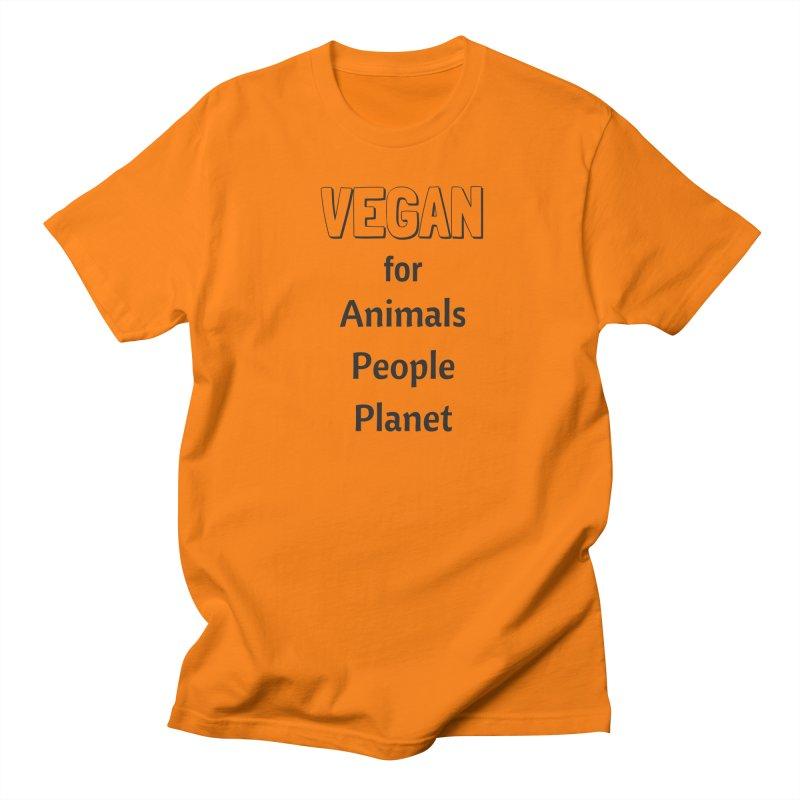 VEGAN for Animals People Planet [Style 3] (Black Font) Women's Regular Unisex T-Shirt by That Vegan Couple's Shop