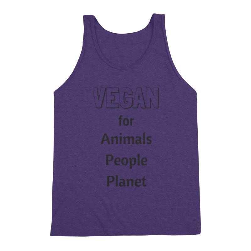 VEGAN for Animals People Planet [Style 3] (Black Font) Men's Triblend Tank by That Vegan Couple's Shop