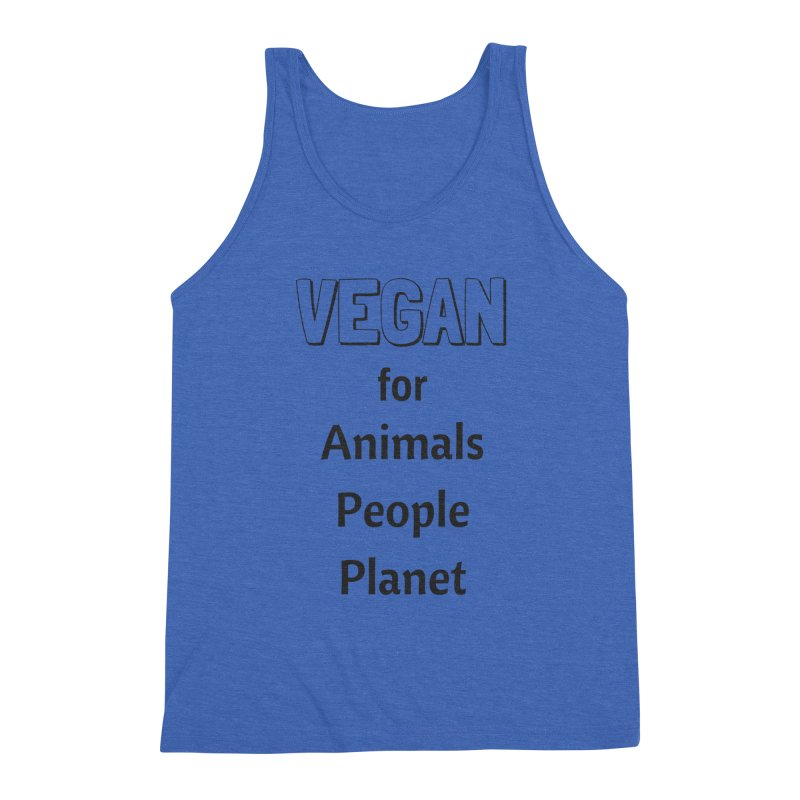 VEGAN for Animals People Planet [Style 3] (Black Font) Men's Tank by That Vegan Couple's Shop