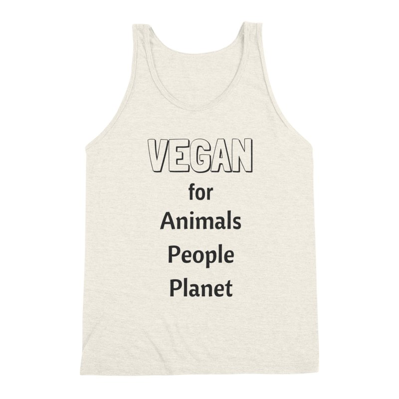 VEGAN for Animals People Planet [Style 3] (Black Font) Men's Triblend Tank by That Vegan Couple's Shop