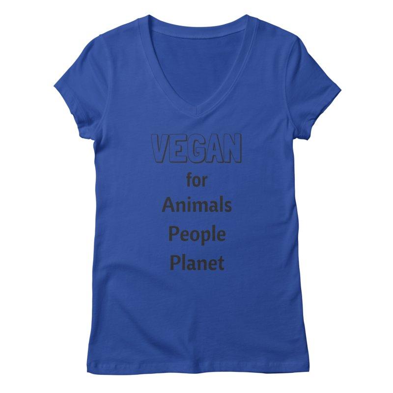 VEGAN for Animals People Planet [Style 3] (Black Font) Women's Regular V-Neck by That Vegan Couple's Shop
