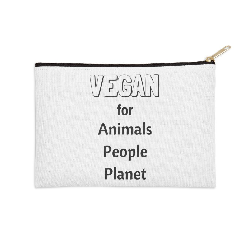 VEGAN for Animals People Planet [Style 3] (Black Font) Accessories Zip Pouch by That Vegan Couple's Shop