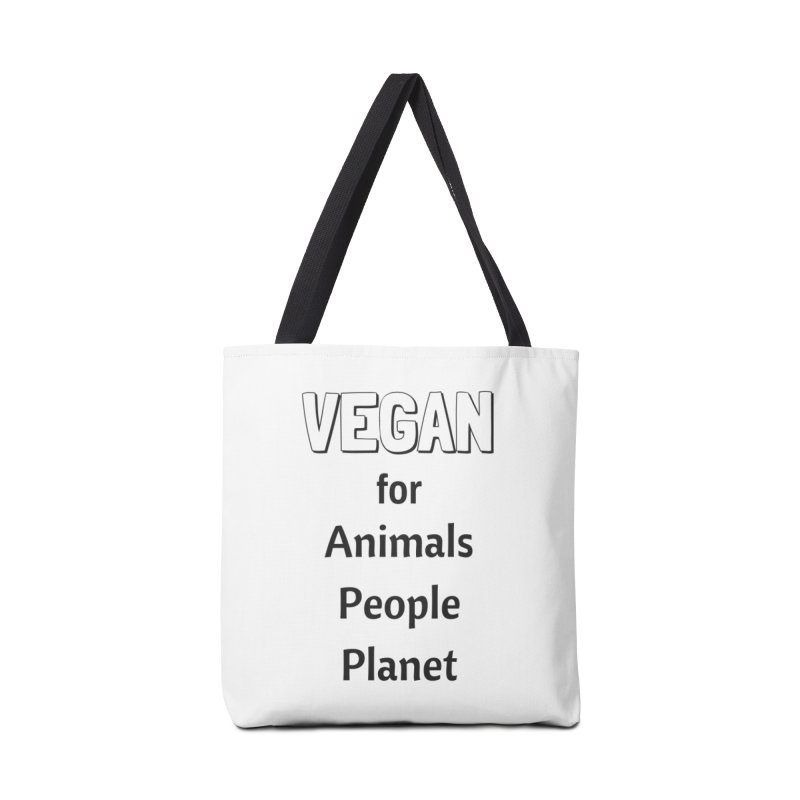 VEGAN for Animals People Planet [Style 3] (Black Font) Accessories Tote Bag Bag by That Vegan Couple's Shop