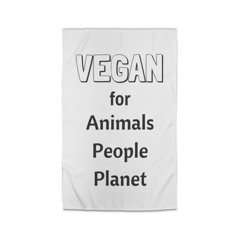 VEGAN for Animals People Planet [Style 3] (Black Font) Home Rug by That Vegan Couple's Shop
