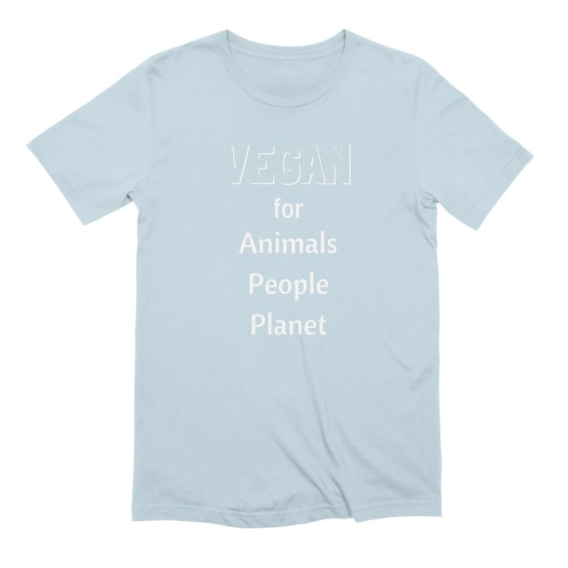 VEGAN for Animals People Planet [Style 3] (White Font) Men's Extra Soft T-Shirt by That Vegan Couple's Shop