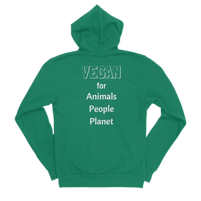 VEGAN for Animals People Planet [Style 3] (White Font) Men's Sponge Fleece Zip-Up Hoody by That Vegan Couple's Shop