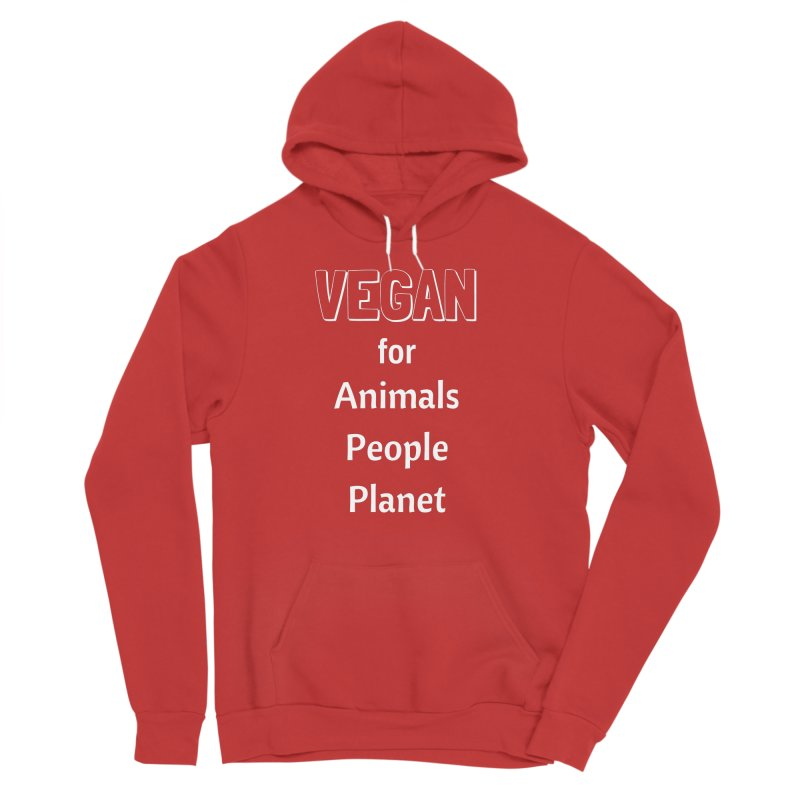 VEGAN for Animals People Planet [Style 3] (White Font) Men's Sponge Fleece Pullover Hoody by That Vegan Couple's Shop