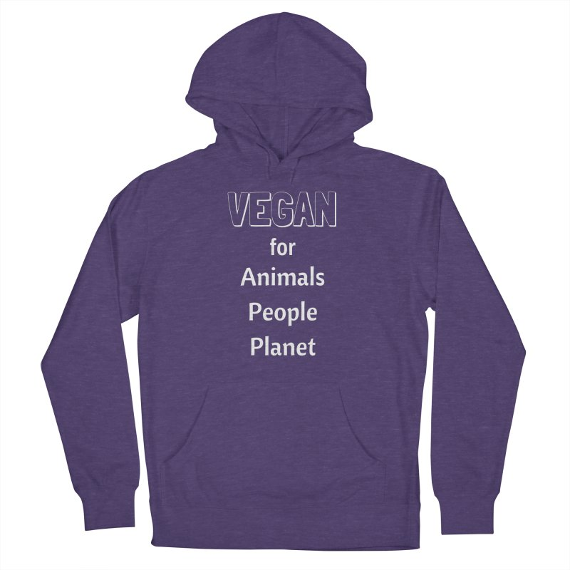VEGAN for Animals People Planet [Style 3] (White Font) Men's French Terry Pullover Hoody by That Vegan Couple's Shop