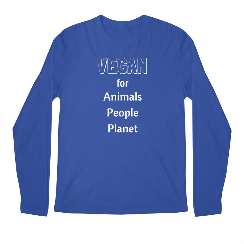 VEGAN for Animals People Planet [Style 3] (White Font) Men's Regular Longsleeve T-Shirt by That Vegan Couple's Shop