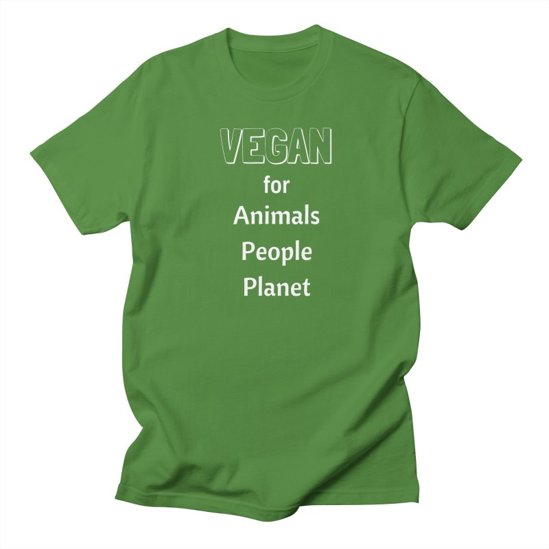 VEGAN for Animals People Planet [Style 3] (White Font) Men's Regular T-Shirt by That Vegan Couple's Shop