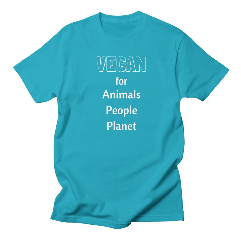 VEGAN for Animals People Planet [Style 3] (White Font) Women's T-Shirt by That Vegan Couple's Shop