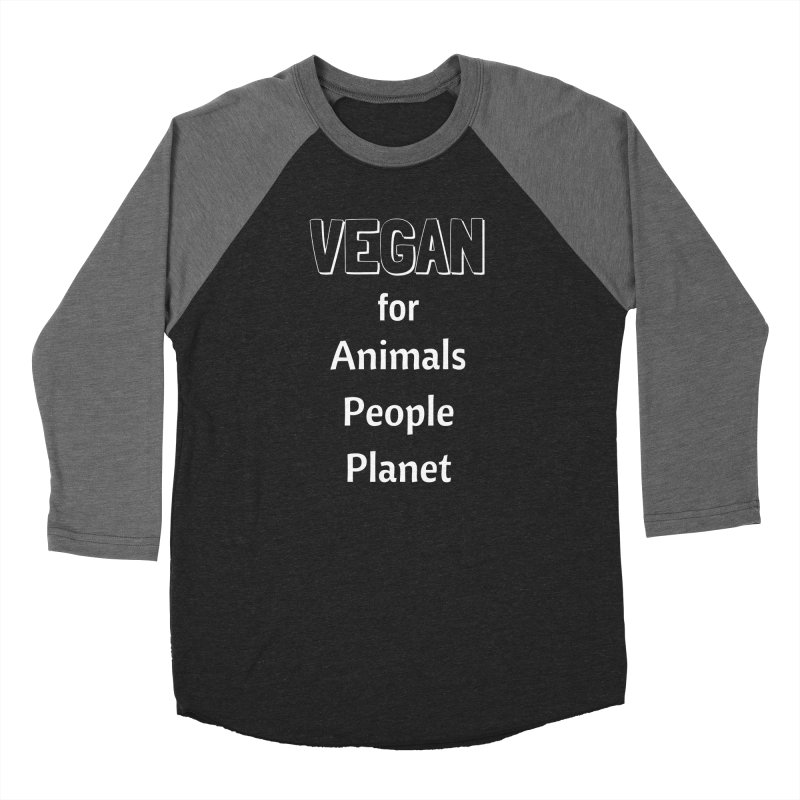 VEGAN for Animals People Planet [Style 3] (White Font) Men's Baseball Triblend T-Shirt by That Vegan Couple's Shop