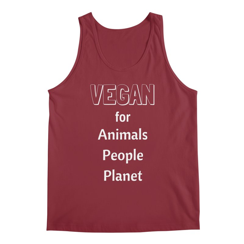 VEGAN for Animals People Planet [Style 3] (White Font) Men's Regular Tank by That Vegan Couple's Shop