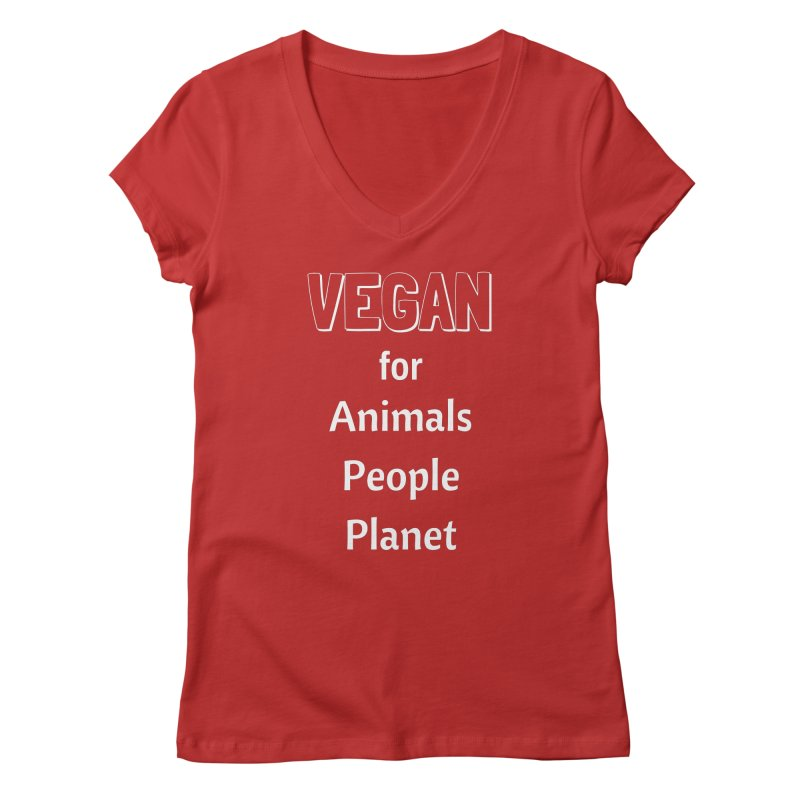 VEGAN for Animals People Planet [Style 3] (White Font) Women's Regular V-Neck by That Vegan Couple's Shop