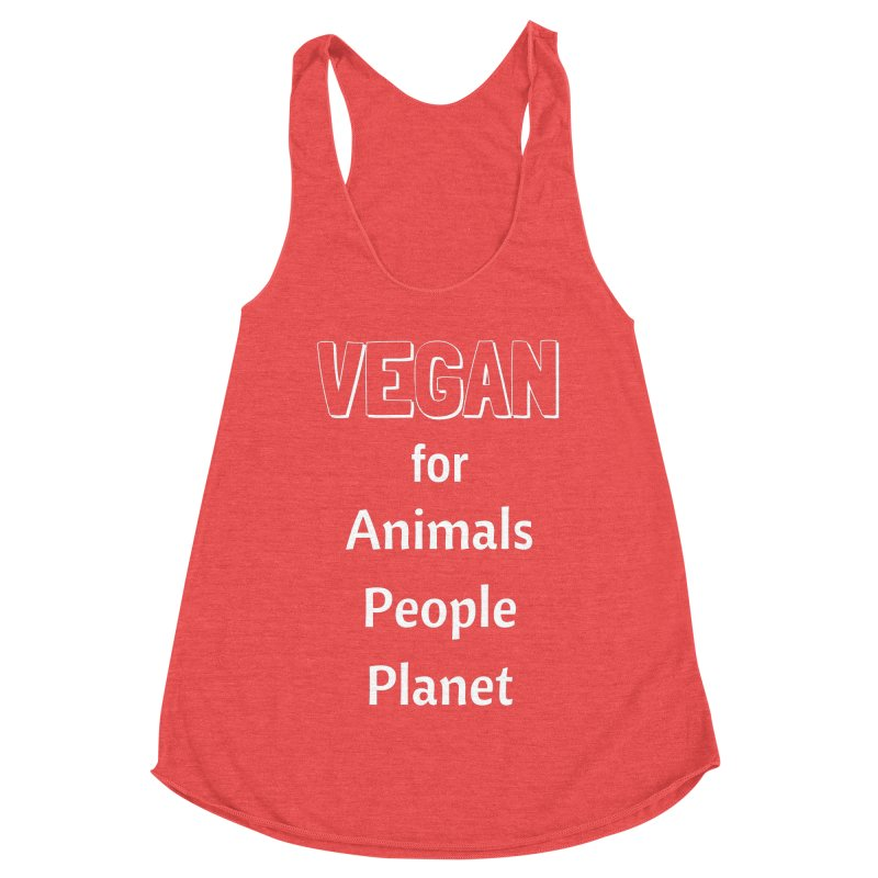 VEGAN for Animals People Planet [Style 3] (White Font) Women's Racerback Triblend Tank by That Vegan Couple's Shop