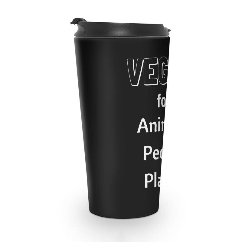 VEGAN for Animals People Planet [Style 3] (White Font) Accessories Travel Mug by That Vegan Couple's Shop