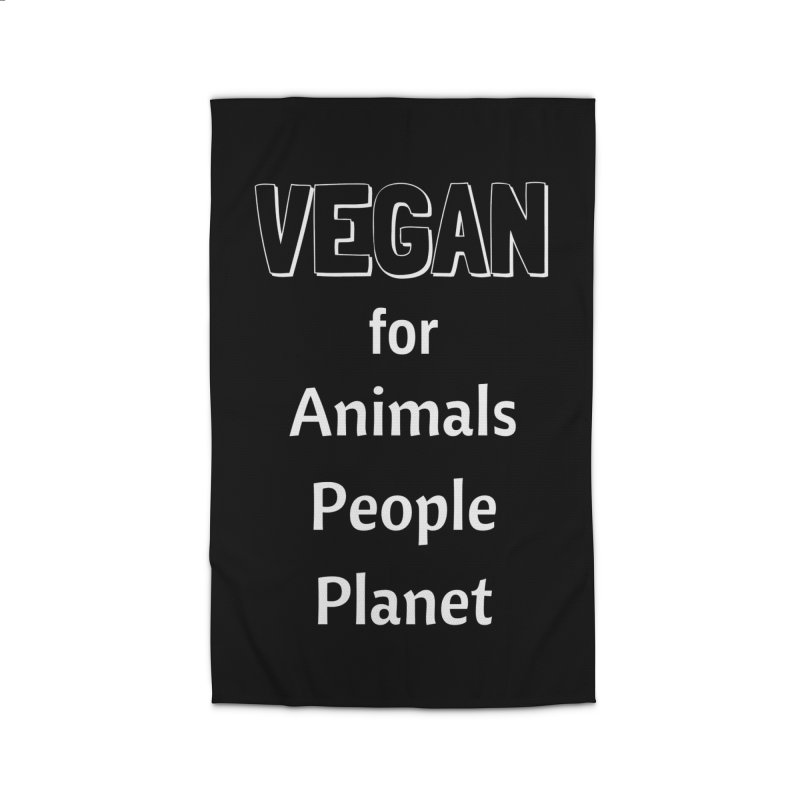 VEGAN for Animals People Planet [Style 3] (White Font) Home Rug by That Vegan Couple's Shop