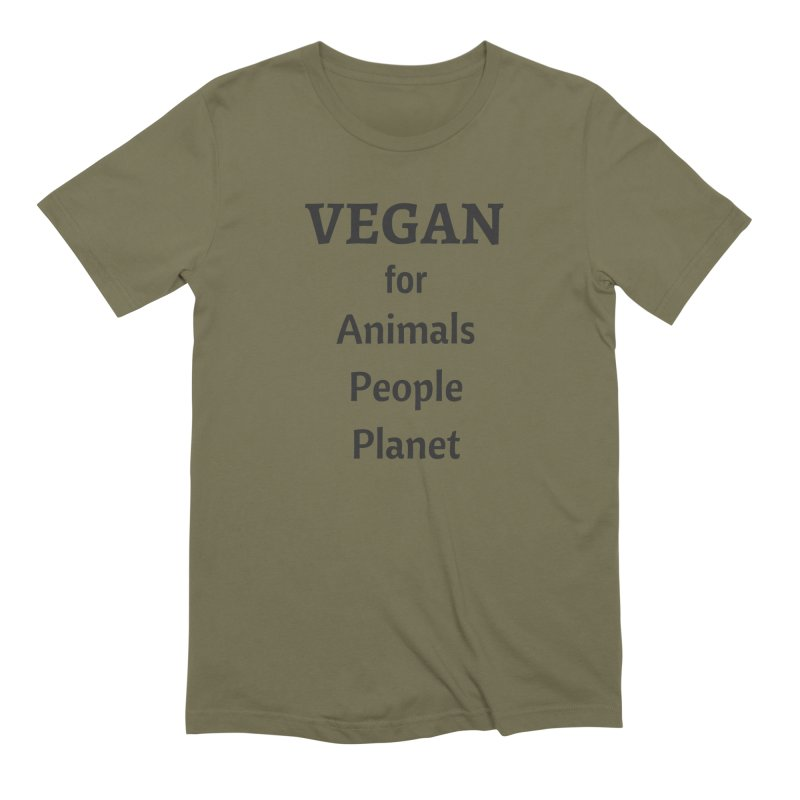 VEGAN for Animals People Planet [Style 4] (Black Font) Men's Extra Soft T-Shirt by That Vegan Couple's Shop