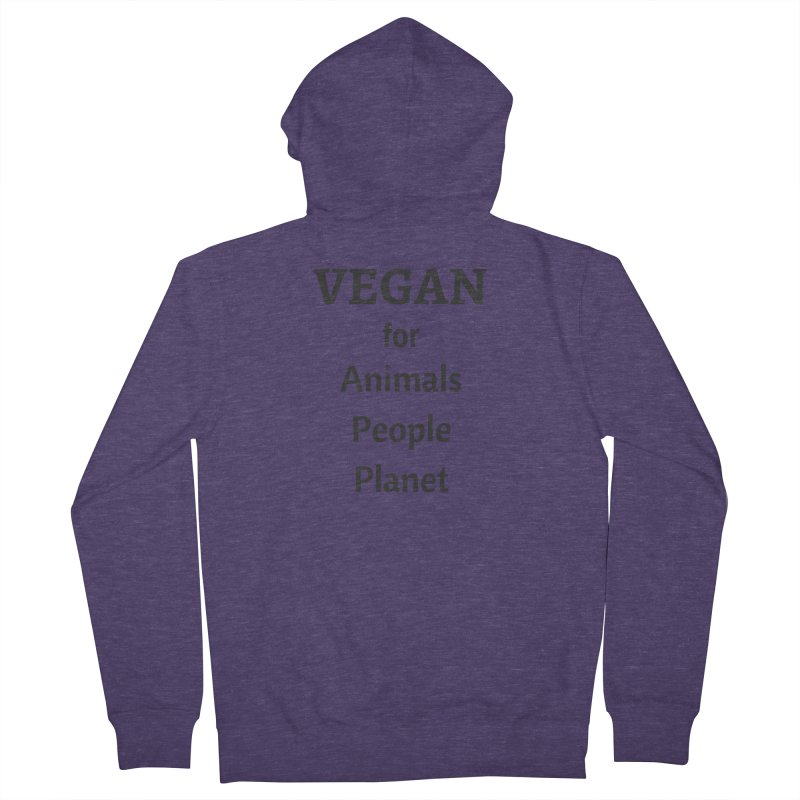 VEGAN for Animals People Planet [Style 4] (Black Font) Men's Zip-Up Hoody by That Vegan Couple's Shop
