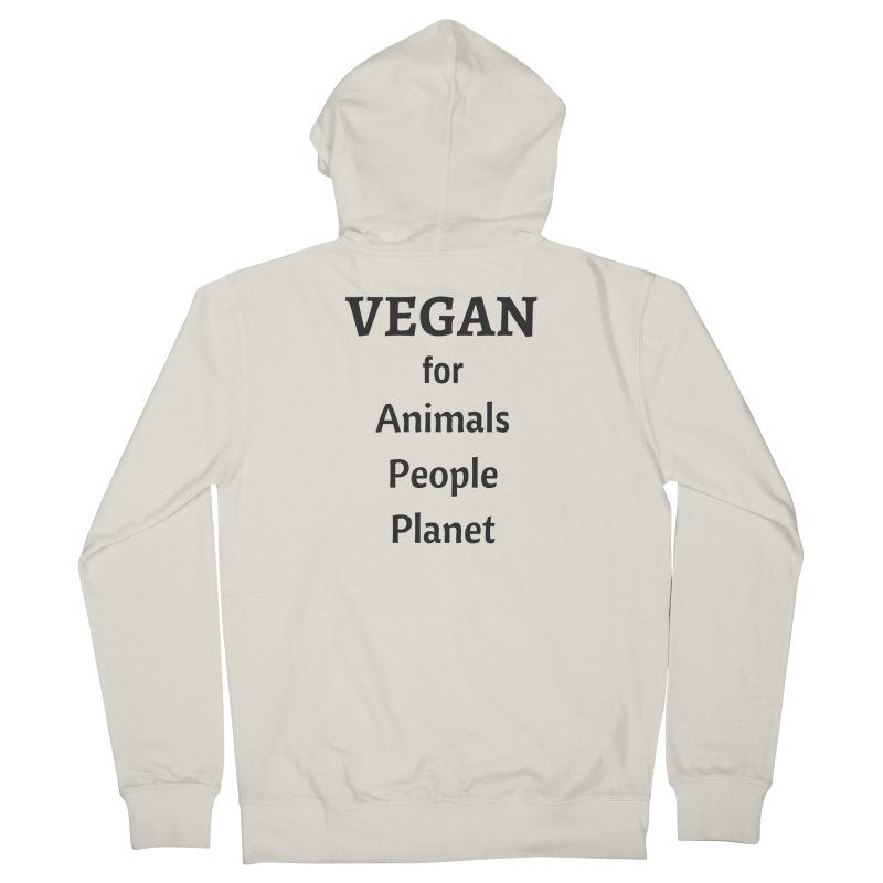 VEGAN for Animals People Planet [Style 4] (Black Font) Men's French Terry Zip-Up Hoody by That Vegan Couple's Shop