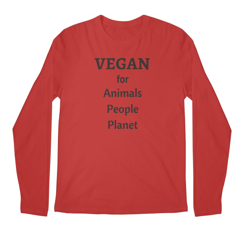 VEGAN for Animals People Planet [Style 4] (Black Font) Men's Regular Longsleeve T-Shirt by That Vegan Couple's Shop