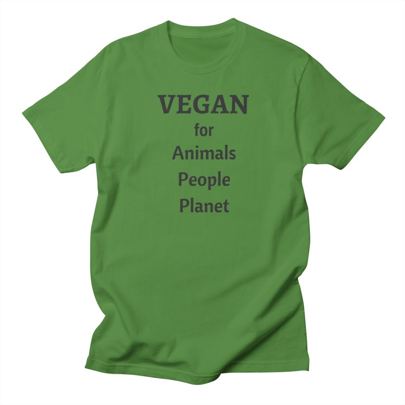 VEGAN for Animals People Planet [Style 4] (Black Font) Men's Regular T-Shirt by That Vegan Couple's Shop