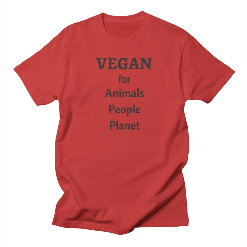 VEGAN for Animals People Planet [Style 4] (Black Font) Women's Regular Unisex T-Shirt by That Vegan Couple's Shop