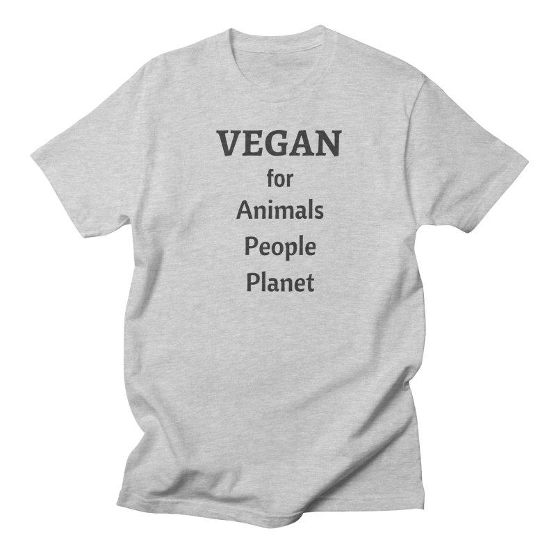 VEGAN for Animals People Planet [Style 4] (Black Font) Men's Regular T-Shirt by That Vegan Couple's Shop