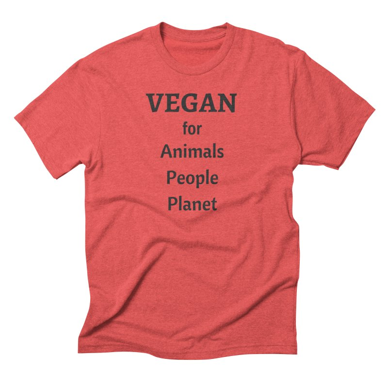 VEGAN for Animals People Planet [Style 4] (Black Font) Men's Triblend T-Shirt by That Vegan Couple's Shop