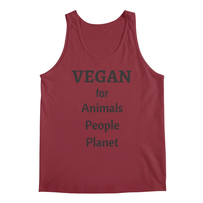 VEGAN for Animals People Planet [Style 4] (Black Font) Men's Tank by That Vegan Couple's Shop
