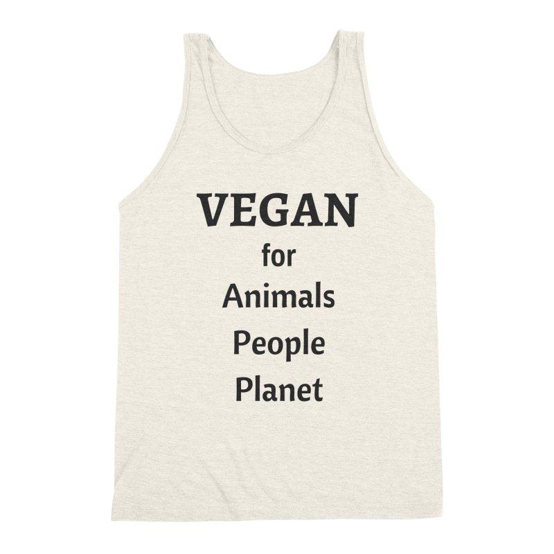 VEGAN for Animals People Planet [Style 4] (Black Font) Men's Triblend Tank by That Vegan Couple's Shop