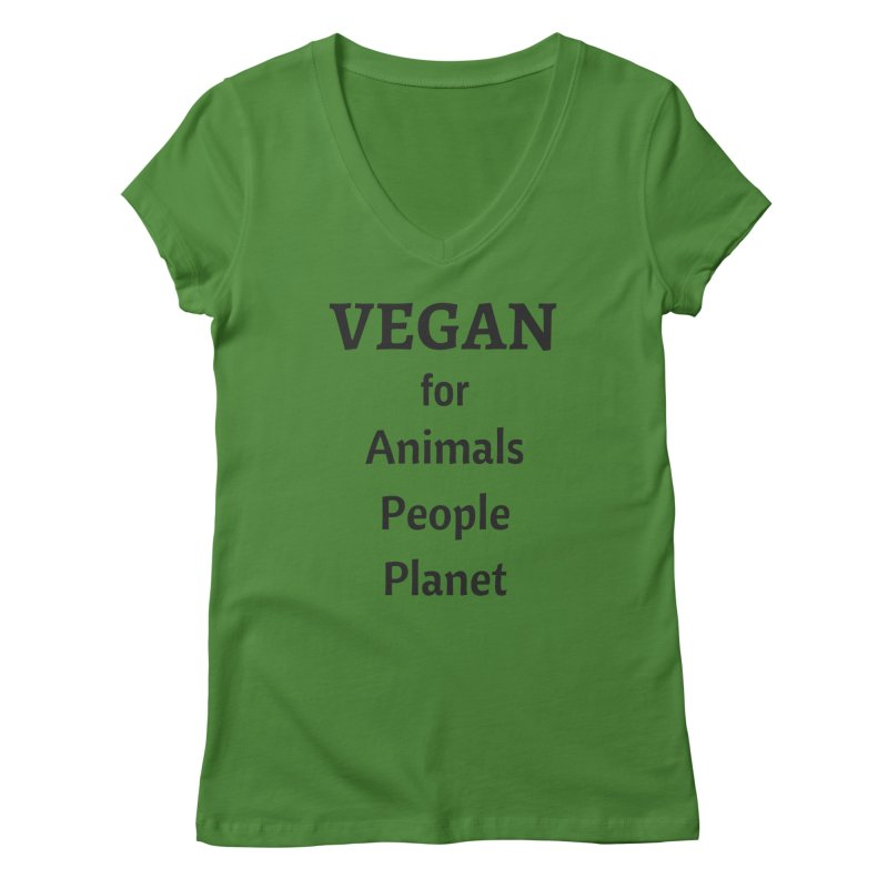 VEGAN for Animals People Planet [Style 4] (Black Font) Women's V-Neck by That Vegan Couple's Shop