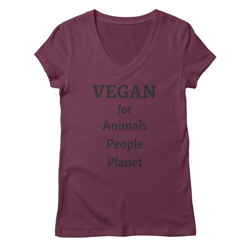 VEGAN for Animals People Planet [Style 4] (Black Font) Women's Regular V-Neck by That Vegan Couple's Shop